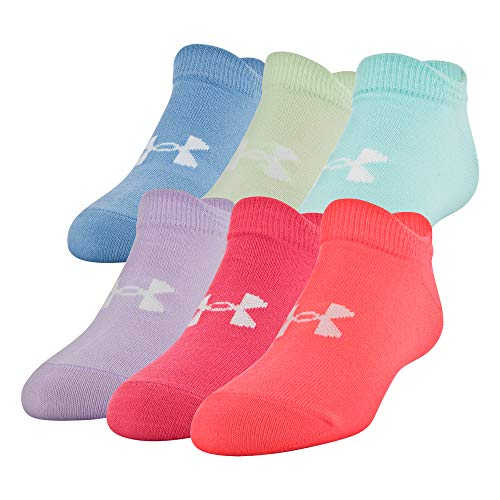 Under Armour Essential 2.0 No Show Lot de 6 paires de chaussettes unisexes pour enfant Large Blitz rouge/assorti.