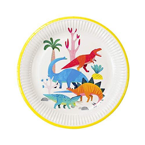 Talking Tables Pratos de festa Dinossauro Dinossauro, pacote com 8, diâmetro 23 cm, 23 cm, cores mistas