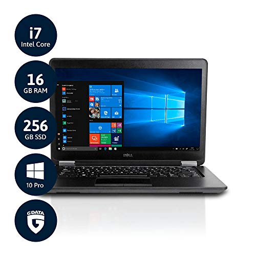 Dell Latitude E7450 - PC portatile Ultrabook da 14' Full HD, processore Intel Core i7 fino a 2GB, RAM da 16 GB, SSD da 256 GB, webcam LTE, Win10 Pro, software inclus