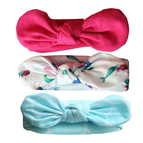 Ecroon Diademas y cintas de pelo para recién nacidos Turbante Arco para el Cabello con las Oidos de Conejo para las Ninos, Banda Elastica de Cabello para niña