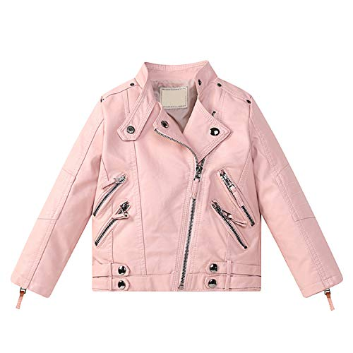 Evelin LEE Kids Girls PU Leather Long Sleeve Stand Collar Moto Jacket Casual Zip Up Outwear Coat Pink