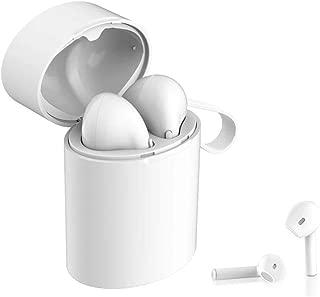 Bluetoothヘッドフォンv5.0、真のワイヤレスステレオサウンドBluetoothヘッドセットワイヤレスヘッドフォンミニインイヤースポーツマイクとiOS用の充電ボックス付きイヤホンAndroid Android Samsung Huawei,White2
