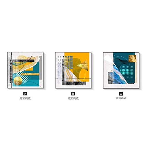 Elmmart Abstract schilderij op goudkleurig aluminium canvas, posters en drukken, unieke afbeeldingen van muurkunst, modieus, voor woonkamer, decoratie in oranje, groen, 50 x 50 x 3 cm, zonder lijst