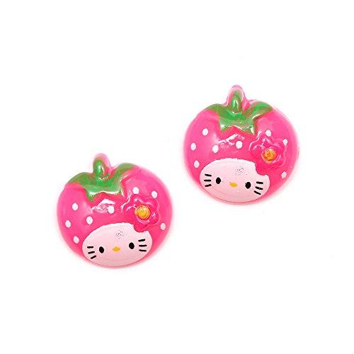 Idin - Orecchini a clip a forma di fragola con gattino rosa (ca. 18 x 18 mm)