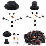 TANCUDER 600 PCS Kit de Construcción de Muñeco de Nieve Mini Sombreros de Copa Negro Nariz de Zanahoria DIY Pequeños Botones Negros Manos de Ramas Decorativas para Fabricación de Muñeco de Nieve
