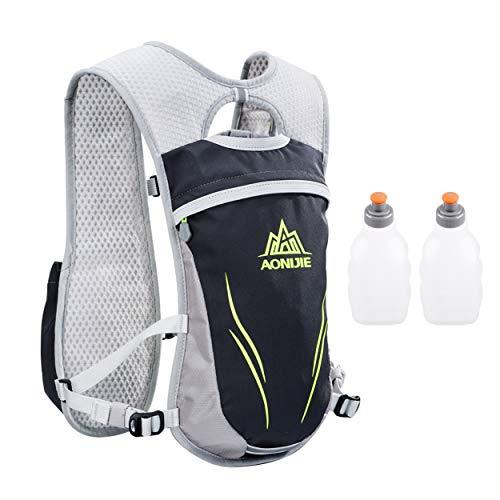Azarxis - Mochila de Hidratación 5.5L Trail Running Ligera Chaleco Ciclismo con Bidon de Agua para Senderismo Escalada Corriente (Gris - con 2 Botellas de Agua (250 ml))