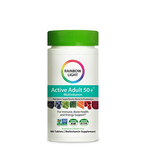 Rainbow Light Active Adult 50+ Non-GMO Project Verified Multivitamin, Plus Superfoods & Probiotics, 180 Tablets (Package May Vary)