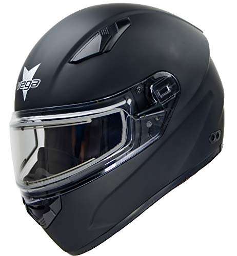 Ultra Big Head Snowmobile Helmet w/Electric Heated Shield by Vega Helmets, Designed for Large Heads/Cheeks Matte Black 6XL