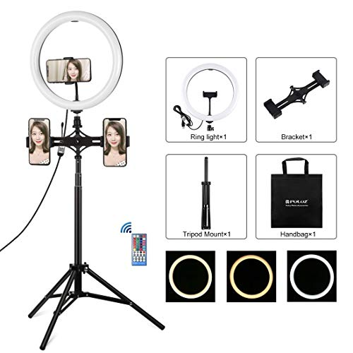 WEIHONG Digital 11.8 inch 30cm RGBW Light + 1.65m Mount + Dual Phone Brackets Curved Surface RGBW Dimmable LED Ring Vlogging Light Live Broadcast Kits with Cold Shoe Tripod Adapter & Phone Clamp & Rem