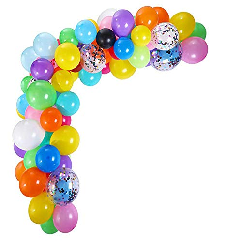 ZQH Multicolor Balloon Arch Garland Kit, 112 Pcs Latex Balloons and Confetti Balloon with Glue Dots and Balloon Strip Tape for Weddings Birthdays Party Baby Shower