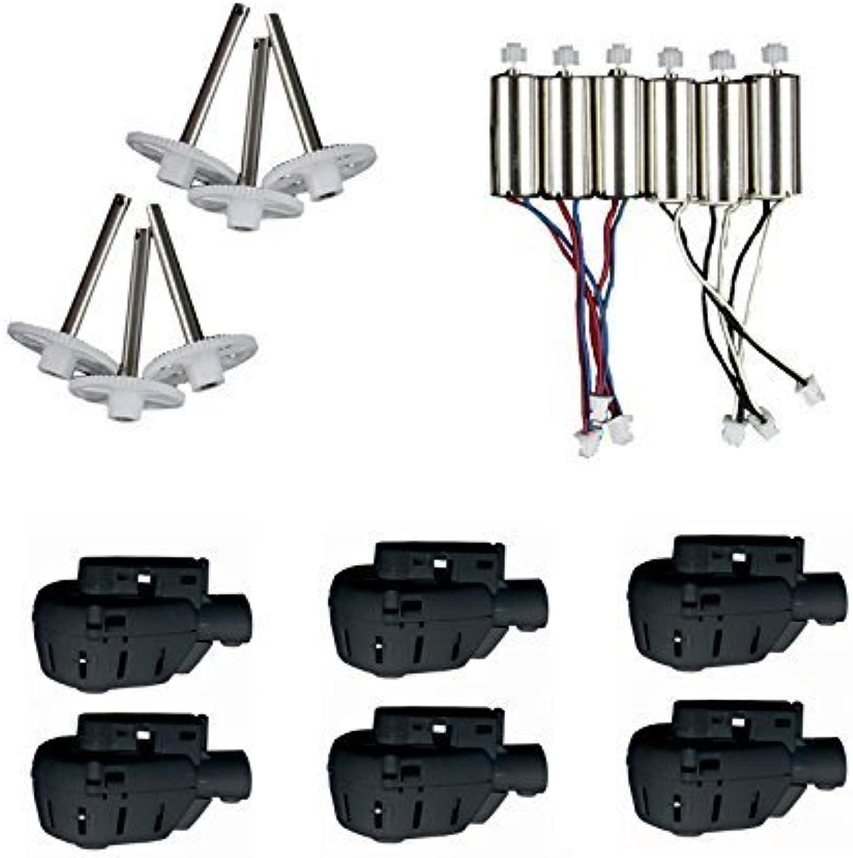 Czxin 6pcs Motor (CW CCW) + 6pcs Gear + 6pcs Motor Socket (Black) Spare Parts for MJX X600 RC Quadcopter Drone