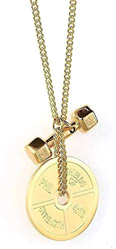 LBBYLFFF Collar Collar de Acero Inoxidable Collar de Fitness Hombres S Accesorios de Moda Disfraz Mancuerna Collar con Colgante de Acero de Titanio Regalo de Oro y Oro para Mujeres Collar de Hombres