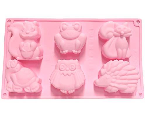Moldes con 6 formas para Bizcochos grado alimenticio, Antiadherente, Para hacer Magdalenas, Chocolate, Gelatinas, Fiestas de Cumpleaños (Animales)