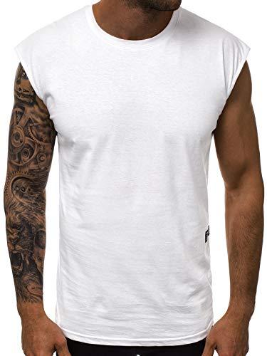 OZONEE Herren Tank Top Tanktop Tankshirt Ärmellos Bodybuilding Shirt Unterhemd T-Shirt Tshirt Tee Muskelshirt Achselshirt Trägershirt Ärmellose Training Sport Fitness O/1265 WEIß L