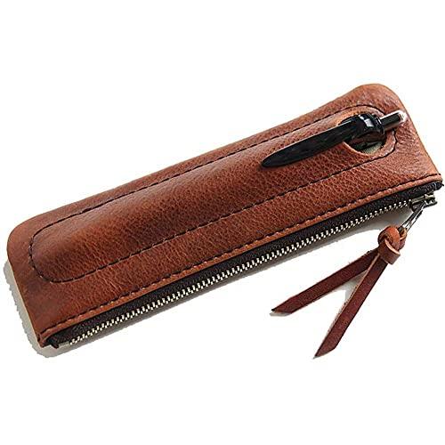 ZHANGCHI Estuche de piel auténtica retro – Estuche con cremallera, bolsa de papelería, bolsa con cremallera, soporte para lápices, capacidad de aproximadamente 4 bolígrafos (color rojo-marrón)