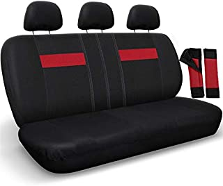 Motorup America Auto Bench Seat Cover - Fits Select Vehicles Car Truck Van SUV - Red & Black