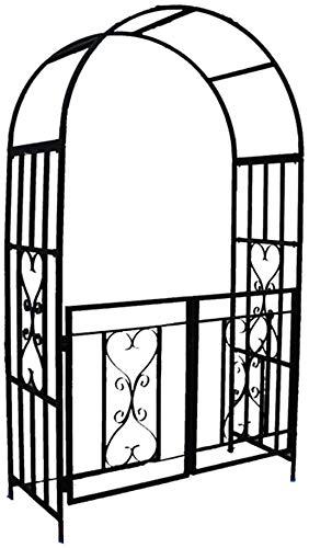 LLDKA Arco de jardín con Puerta, Rose Arco con la Puerta, Escalada Apoyo del Crecimiento Vegetal, Metal Enrejado, con Cerradura, 210x 114 x 52 cm