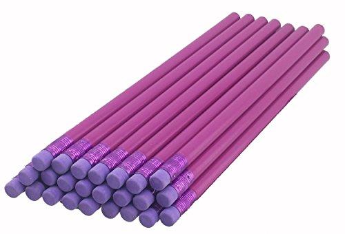 ezpencils - Light Purple Barrel Round Pencils with Purple Eraser and Purple Ferrule - 36 pkg - Non-Smudge Eraser - # 2 HB Lead - Unsharpened - Non-Branded