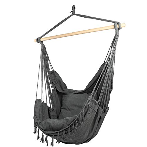 CCTRO Large Hammock Chair | Hanging Rope Swing Seat for Indoor & Outdoor | Soft & Durable Cotton Canvas | 2 Cushions Included with Pocket for Bedroom, Patio, Porch (Grey)