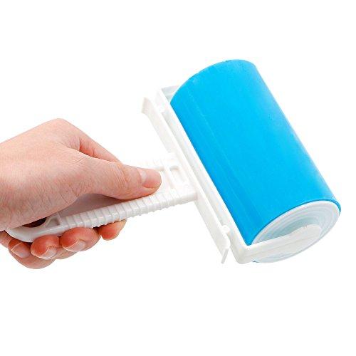 Sticky Roller, Sticky Lint Roller, Bukm Fast Fit Klebrige Rollen, Flusen, Fluff & Pet Haarentferner, Stoffreinigung, waschbar wiederverwendbare Flusenwalze (blau)