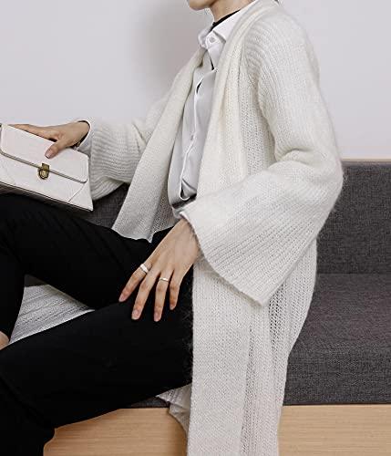 ShZyywrl Mujer Abrigo Abrigos Abrigo De Capa De Gran Tamaño Suelto con Frente Abierto para Mujer Cárdigans Largos Largos De Punto Ocasionales con Bolsillos Talla Única Blanco Roto