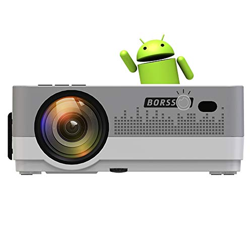 BORSSO® Moon 7.2 Smart Android 8.0 HD 720p (1080p Support)   3500Lm   210 Inch Large Display LED Projector   WiFi   Bluetooth   4D Keystone   (Silver) 2021 Upgraded