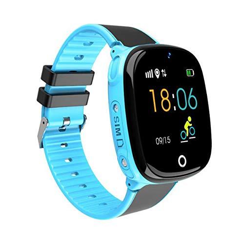 HW11 Smartwatch Niños Familia Bluetooth Podómetro Reloj Inteligente Impermeable Dispositivo Portátil GPS SOS Llamada Niños Seguro para Android, Azul