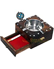 Globe Arts Wooden Ashtray with Cigarette Case in Sheesham Wood