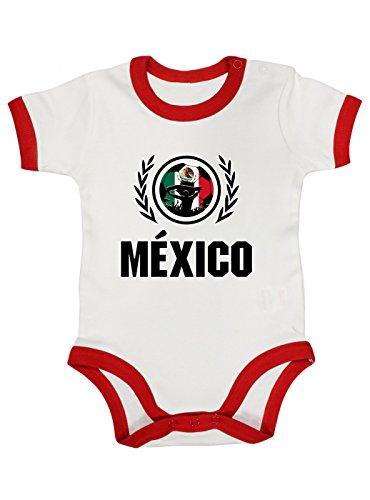 Shirt Happenz Mexiko Weltmeisterschaft 2018#2 Premium Ringer Babybody Fan Trikot Fußball WM Nationalmannschaft Kurzarmbody, Farbe:Weiß Rot (White Red BZ19);Größe:12-18 Monate