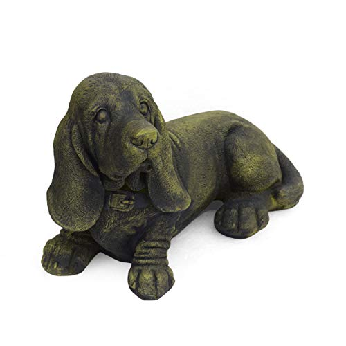 Christopher Knight Home 309257 Dayton Outdoor Basset Hound Dog Garden Ornament, Antique Green Finish