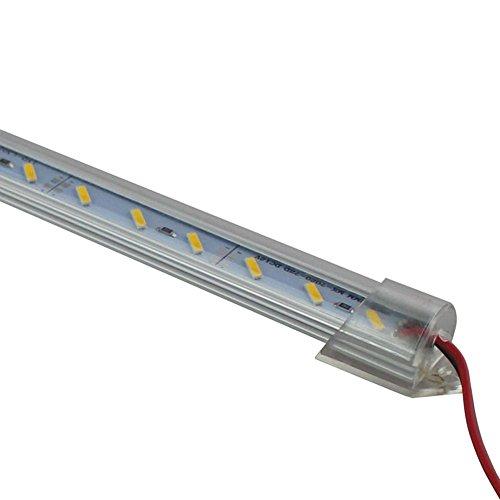 LED-Streifen mit Aluminiumgehäuse, 50 cm, DC 12 V, 36 SMD 7020, starr, 10 Stück, Kaltweiß, clear cover, 2G11