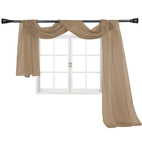 """Imperium Comfort Window Scarf 54"""" W x 144"""" Long Solid Sheer Curtain Voile Scarf Swag Drapes Valance for Window, Bedroom, Living Room, Kitchen (1 Scarf: 54W Inch x 144L Inch, Taupe)"""