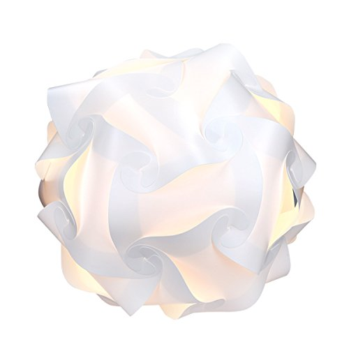 kwmobile DIY Puzzle Lamp Shade - Modern IQ Jigsaw Light in 30 Pieces min. 15 Different Designs - Diameter Approx. 15.7 in / 40 cm - White in Size XL