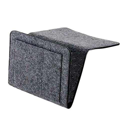 Wendao Bolsa de almacenamiento de fieltro para mesilla de noche, con bolsillos, cama, sofá y escritorio, organizador para colgar para revistas, tabletas, mandos a distancia