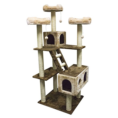 """73"""" Beverly Hills Beige Cat Tower Playhouse and Condo Scratcher"""