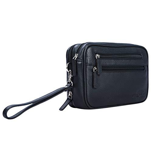 STILORD 'Nero' Handgelenktasche Herren Leder mit Doppelkammer Vintage Handtasche für 8,4 Zoll Tablets ideal für Reisen Festival Herrenhandtasche echtes Leder, Farbe:schwarz