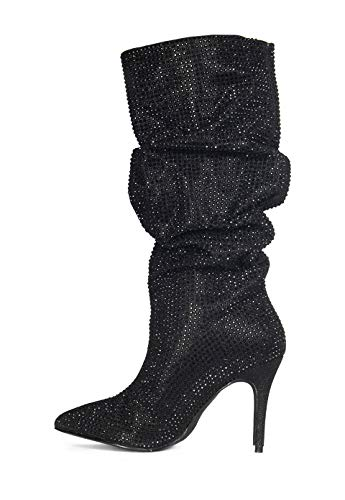 "Price comparison product image Lauren Lorraine Layzer Black Rhinestone Embellished Pointed Toe Slouch 3.5"" Mid Heel Boots"