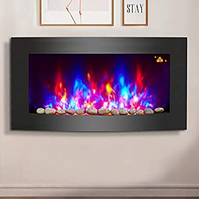 NRG 2KW Black Curved Glass Screen Wall Mounted Electric Fire Place Heater Fire Flame Effect Fireplace