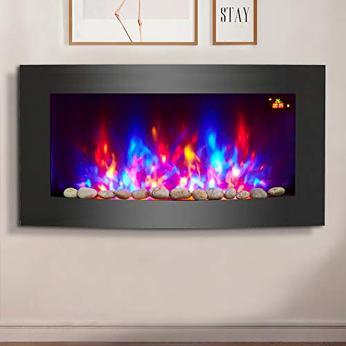 NRG 2KW Black Curved Glass Screen Wall Mounted Electric Fire Place...