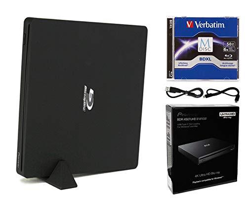 Pioneer BDR-XS07UHD Paquete de unidad externa portátil 6x Ultra HD 4K Blu-ray Writer con código de instalación de descarga de software Cyberlink, 50GB M-DISC BD-R DL y cable USB
