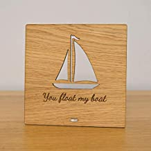 Diuangfoong Valentines Day You Float My Boat Plaque Personalised Oak Wooden Sign