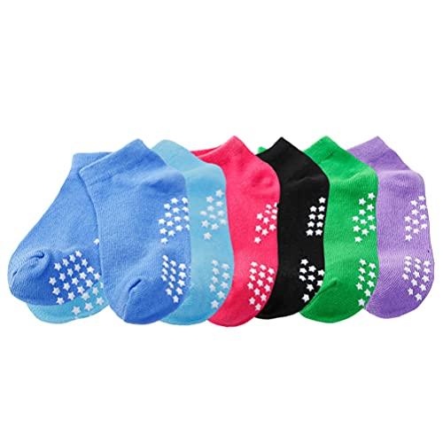 Holibanna 6 Pairs Nicht Slip Socken für Kleinkind Kinder Socken mit Grips Anti Slip Sport Ankle Socken Trampolin Socken für Bare Fuß Spielen Yoga Pilates