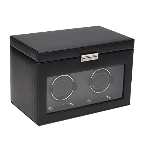WOLF 456202 Viceroy Double Watch Winder with Cover and Storage, Black
