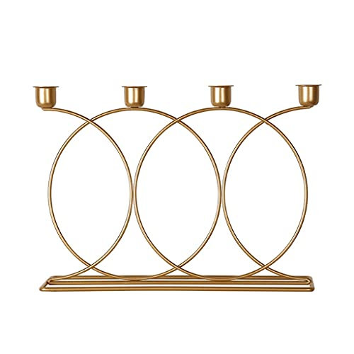 xinxinchaoshi Home Candle Holders Creative Restaurant Bar Alloy Candlestick Stand Home Living Room Decoration Romantic Candlelight Table Props Decoration Decorative Candlestick Holder (Color : Gold)