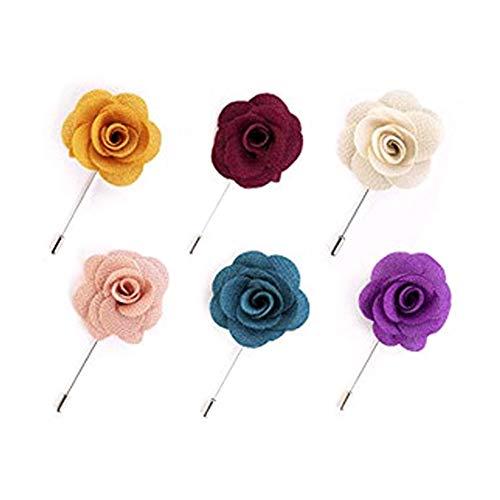 FABSELLER - Broche de flores hecho a mano para hombre, 6 piezas, para chaqueta de caballero, accesorio para banquetes de boda