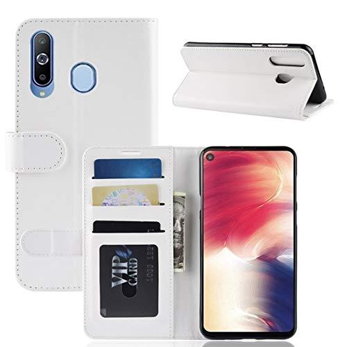 Mobiele telefooncassette ELETTRONICA JDQSK R64 enkele horizontale plooien van de lederen behuizing voor de Galaxy A8S, met houder en portemonnee voor papier & fotolijst, Wit
