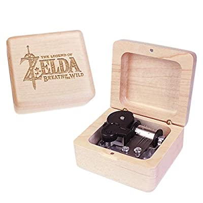 Sinzyo Handmade Wooden The Legend of Zelda Music Box Red Vintage Wood Carved Mechanism Musical Box Wind Up Music Box Gift for Christmas,Birthday,Valentine's Day,Best Gift for Kids,Friends