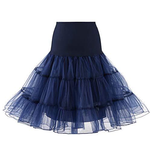 Andouy Damen Tutu Rock Tüll Organza A-Linie Petticoat Balletttanz Layred Kostüm Dress-up Größe 34-52(40-42,Marine)