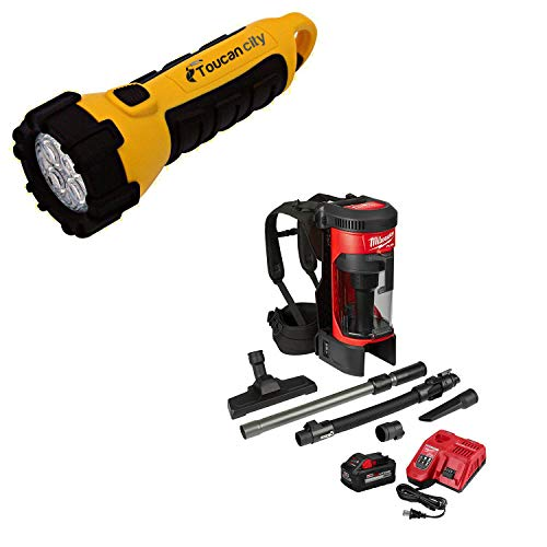 Toucan City LED Flashlight and Milwaukee M18 Fuel 18-Volt Lithium-Ion Brushless Cordless 1 Gal. 3-in-1 Backpack Vacuum Kit and One 8.0 Ah Battery and Accessories 0885-21HD