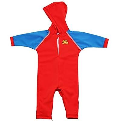 Nozone Kailua Sun Protective Hooded Baby Swimsuit in Red/Capri, 0-6 mo.